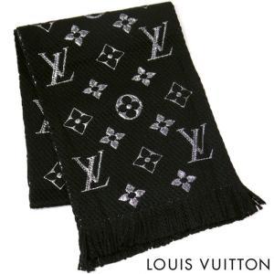 eca9d400b037 【訳あり】ルイヴィトン LOUIS VUITTON ルイ ヴィトン LV マフラー レディース メンズ ストール エシャルプロゴマニア シャイン  M75833 ブラック 黒