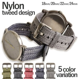 腕時計 ナイロン ベルト 18mm 20mm 22mm 24mm 時計ベルト 時計バンド 交換用 替...