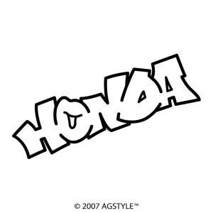 HONDA イラスト風 カッティングステッカー 車 JDM USDM HDM STANCE US オリジナル デザイン スタンス ネーム 本田 バイク agstyle