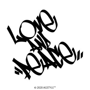 LOVE AND PEACE オリジナル カッティン グステッカー 愛と平和 タギング ワンポイント 車 JDM USDM HDM STANCE US GT 北米 メッセージ|agstyle