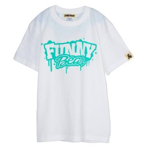 FUNNY BEAR Tシャツ ホワイト×ミント メンズ レディース ユニセックス 半袖 ストリート カジュアル コーデ お洒落 スニーカーコーデ キャップコーデ|agstyle