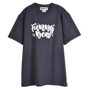 FUNNY BEAR Tシャツ ハンドレタリング デザイン ダークヘザーネイビー ユニセックス ストリート カジュアル コーデ お洒落 スニーカーコーデ キャップコーデ|agstyle