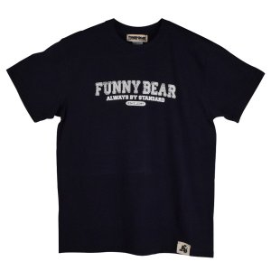 FUNNY BEAR カレッジ Tシャツ ネイビー メンズ レディース ユニセックス ストリート カジュアルコーデ お洒落 スニーカーコーデ キャップコーデ バックプリント|agstyle