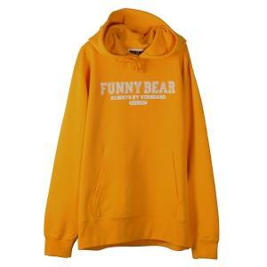 FUNNY BEAR カレッジ ロゴ デザイン スウェット プルオーバー パーカー マリーゴールド メンズ レディース|agstyle