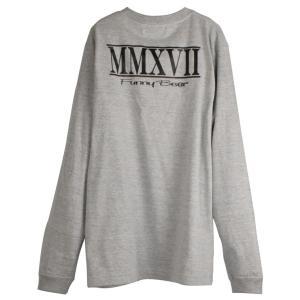 FUNNY BEAR ロングスリーブ Tシャツ MMXVII デザイン ミックスグレー メンズ レディース|agstyle