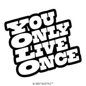 YOU ONLY LIVE ONCE カッティングステッカー YOLO ステッカー メッセージ サーフ スノボ 波 雪 車 JDM USDM US スケボー オリジナル デザイン|agstyle