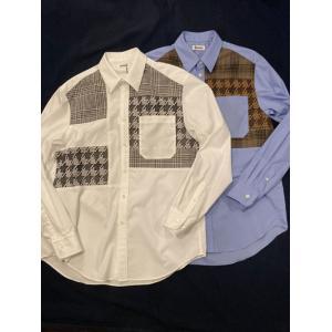 COOHEM (コーヘン) 20-204-011 TWEED PATCHWORK SHIRT (MENS) / ツィードパッチワークシャツ|ah1982