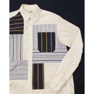 COOHEM (コーヘン) 13-212-011 KNIT PATCHWORK SHIRT / ニットパッチワーク 切替シャツ|ah1982