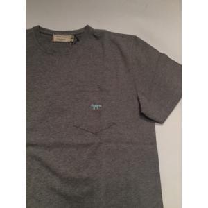 MAISON KITSUNE メゾンキツネ TEE SHIRT FOX EMBROIDERED ポケットTシャツ *グレイ|ah1982