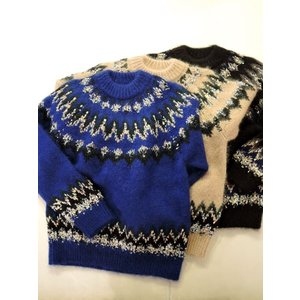 COOHEM (コーヘン) 20-183-004 MOHAIR NORDIC KNIT SWEATER BLUE/BEIGE/BLACK|ah1982