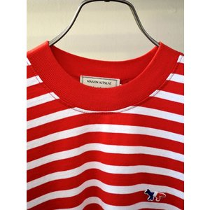 MAISON KITSUNE メゾンキツネ L/S MARIN TEE-SHIRT TRICOLOR 長袖 マリンTシャツ RED×WHITE|ah1982