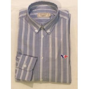 MAISON KITSUNE メゾンキツネ  KMH18530 STRIPES CLASSIC SHIRT BD ブルーストライプBDシャツ|ah1982