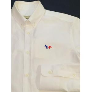 MAISON KITSUNE メゾンキツネ TRICOLOR PATCH CLASSIC SHIRT BD *WHITE  トリコロールパッチ BDシャツ|ah1982