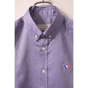 MAISON KITSUNE メゾンキツネ TRICOLOR PATCH CLASSIC SHIRT BD *NAVY  トリコロールパッチ BDシャツ|ah1982