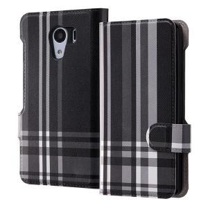 Y!mobile Android one 手帳型ケース チェック/ブラック レザーブックカバー フリップ カードポケット キャラ グッズ イングレム IJ-CR03LC-AK084|ai-en