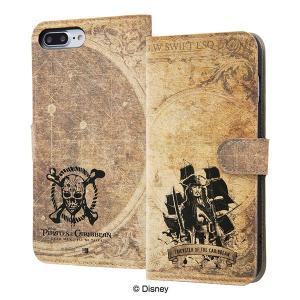 ディズニー iPhone8Plus/7Plus 手帳型ケース パイレーツ・オブ・カリビアン レザーカ...