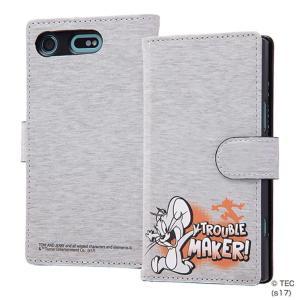 トムとジェリー Xperia XZ1 Compact 手帳型ケース カードポケット付 ストラップホール付 レザーケース マグネット式 IN-RWXZ1CMLC2-TJ051 ai-en