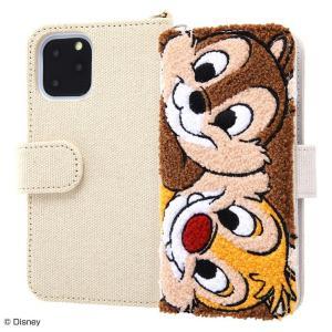 ディズニー iPhone11 Pro 手帳型ケース 刺繍 タオル生地 帆布 ミラー付 カードポケット 収納ポケット付 チップ&デール IS-DP23SGR1-CD ai-en