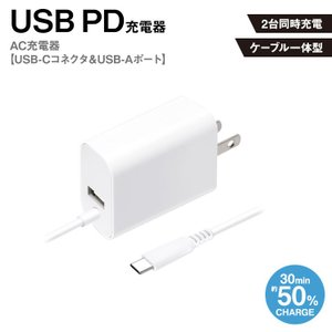 iPhone スマートフォン iPad タブレット AC充電器 ホワイト USB PD AC充電器 USB-Cコネクタ USB-Aポート 急速充電 5V 9V 12V コンセント PGA PG-PDA18CAC2W|ai-en