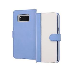 Galaxy S8+ 6.2inch 手帳型ケース ブルーホワイト マグネット式 ポケット ギャラク...