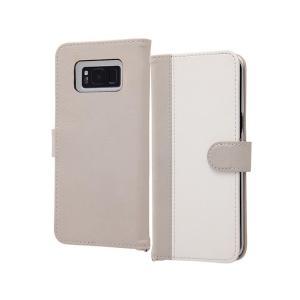 Galaxy S8+ 6.2inch 手帳型ケース グレーホワイト マグネット式 ポケット ギャラク...