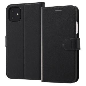 iPhone11 手帳型ケース マグネット 通話口付 カードポケット付 収納ポケット付 ストラップホール付 ブラック/ブラック RT-P21ELC1-BB ai-en