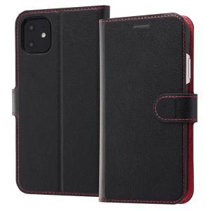 iPhone11 手帳型ケース マグネット 通話口付 カードポケット付 収納ポケット付 ストラップホール付 ブラック/レッド RT-P21ELC1-BR ai-en