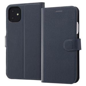 iPhone11 手帳型ケース マグネット 通話口付 カードポケット付 収納ポケット付 ストラップホール付 ダークネイビー RT-P21ELC1-DN ai-en