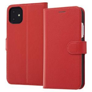 iPhone11 手帳型ケース マグネット 通話口付 カードポケット付 収納ポケット付 ストラップホール付 レッド RT-P21ELC1-R ai-en