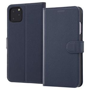 iPhone11 Pro Max 手帳型ケース マグネット 通話口付 カードポケット付 収納ポケット付 ストラップホール ダークネイビー RT-P22ELC1-DN ai-en