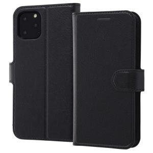 iPhone11 Pro 手帳型ケース マグネット 通話口付 カードポケット付 収納ポケット付 ストラップホール付 ブラック/ブラック RT-P23ELC1-BB ai-en