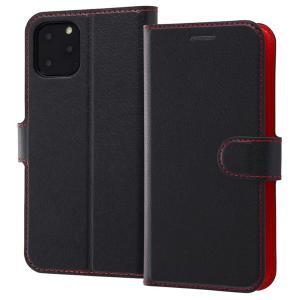 iPhone11 Pro 手帳型ケース マグネット 通話口付 カードポケット付 収納ポケット付 ストラップホール付 ブラック/レッド RT-P23ELC1-BR ai-en