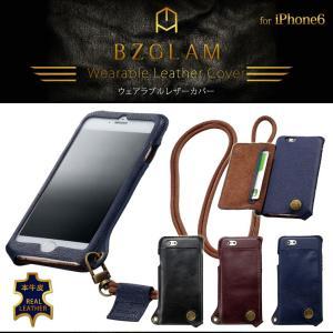 iPhone6S/6 BZGLAM ウェアラブルレザーカバー カバー ケース 本革 牛皮 ネックストラップ付 カード入れ ブラック ブラウン S014|ai-en