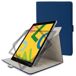 iPad 10.2inch 2019 フラップケース ネイビー 360度回転 縦横2Way ソフトレ...