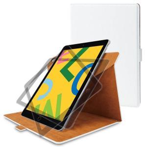 iPad 10.2inch 2019 フラップケース ホワイト 360度回転 縦横2Way ソフトレ...