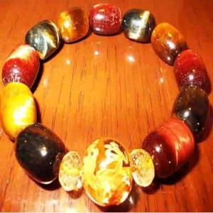 手彫り金龍 水晶 ブレスレット シトリン タイガーアイ パワーストーン 天然石 誕生石 L|ai-fujinomiya