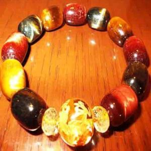 手彫り金龍 水晶 ブレスレット シトリン タイガーアイ パワーストーン 天然石 誕生石 M|ai-fujinomiya