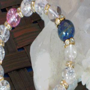 ラピスラズリ ブレスレット 水晶 クラック水晶 パワーストーン 天然石 誕生石    |ai-fujinomiya