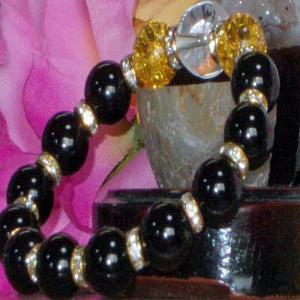 水晶 ブレスレット クラック黄水晶 オニキス パワーストーン 天然石 誕生石  |ai-fujinomiya