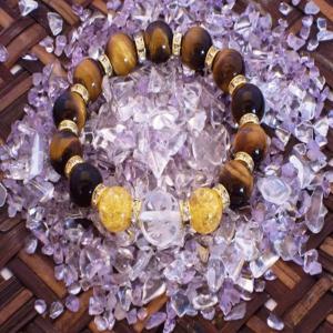 青龍 水晶 ブレスレット イエロータイガーアイ クラック黄水晶 パワーストーン 天然石 誕生石|ai-fujinomiya