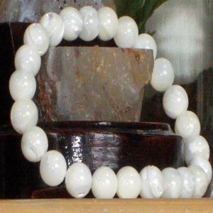 ホワイト マザー オブ パール ブレスレット パワーストーン 天然石 誕生石8mm|ai-fujinomiya