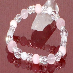 ピンク オパール ブレスレット ローズクォーツ ムーンストーン 水晶 パワーストーン 天然石 誕生石|ai-fujinomiya