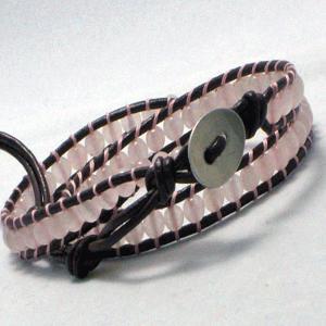 ローズクォーツ ラップブレス レザー ブレスレット パワーストーン 天然石 2連タイプ|ai-fujinomiya
