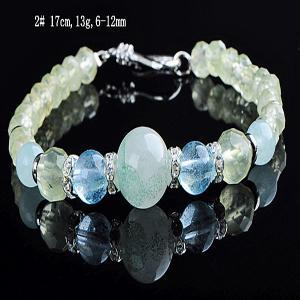 ブルー トパーズ ブレスレット プレナイト ブルーミントピラミッドファントム 水晶 パワーストーン 天然石 誕生石|ai-fujinomiya