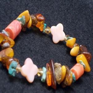 サンゴ ブレスレット 珊瑚 アンバー 琥珀 ターコイズ トルコ石 パワーストーン 天然石 誕生石|ai-fujinomiya