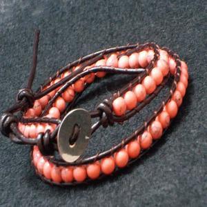 ピンク ターコイズ ラップブレス パワーストーン 天然石 誕生石 レザー ブレスレット 2連|ai-fujinomiya