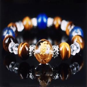 金彫り四神獣 ラピスラズリ ブレスレット 水晶 タイガーアイ パワーストーン 天然石 誕生石|ai-fujinomiya
