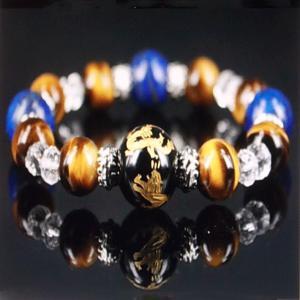 金彫り四神獣 ラピスラズリ ブレスレット オニキス タイガーアイ パワーストーン 天然石 誕生石|ai-fujinomiya