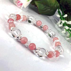 ピンク オパール ブレスレット 水晶 六芒星 パワーストーン 天然石 誕生石  |ai-fujinomiya