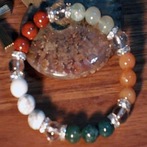 インド翡翠 ブレスレット 水晶 ニュージェイド レッドジャスパー ファイアーアゲート ハウライト パワーストーン 天然石 誕生石